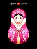 Chica de vietnam matryoshka — Vector de stock