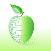 Cyber groene apple — Stockvector