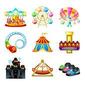 Iconos de la atracción — Vector de stock
