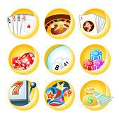 Casino games icons — Stock Vector
