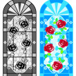 Stained glass floral windows - Image vectorielle