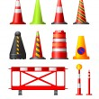 Stock Vector: Traffic Cones, Drums & Posts