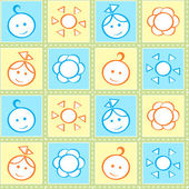 Baby stitches seamless pattern — Stock Vector