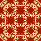 Golden pagoda seamless pattern — Stock Vector