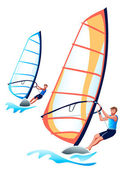Windsurfers — Stock Vector