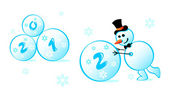 Muñeco de nieve 2012 — Vector de stock