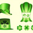 Leprechaun hats and clovers — Stock Vector