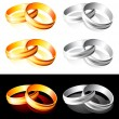 Wedding gold and silver rings — Imagen vectorial
