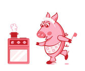 Piggy cook — Stock Vector