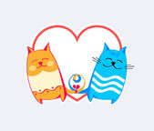 Amore gatti — Vettoriale Stock