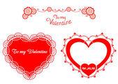 Valentine retro hearts — Stock Vector