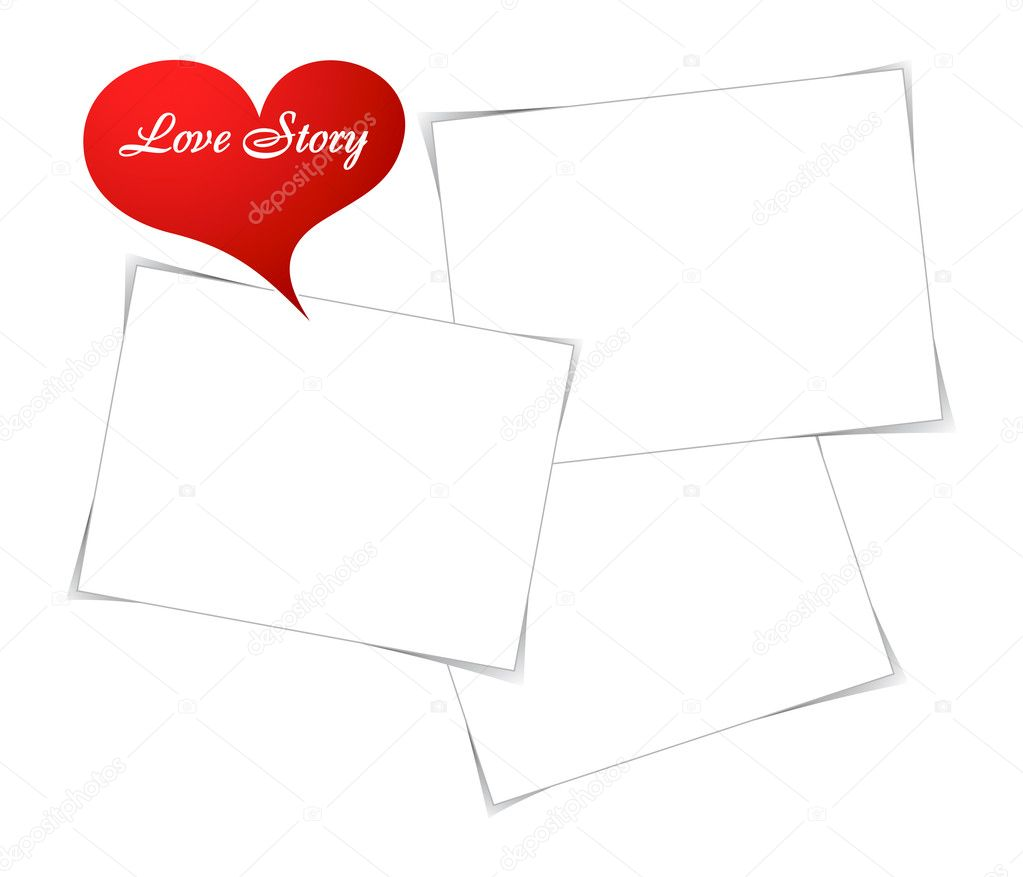 Empty photo frames for beautiful love story — Stock Vector #7544295