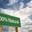 100% Natural Green Road Sign — Stock Photo