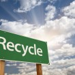 Stock Photo: Recycle Green Road Sign