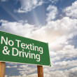 Royalty-Free Stock Photo: No Texting and Driving Green Road Sign