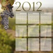 2012 Calendar with Grape Vineyard Background - Stock Photo