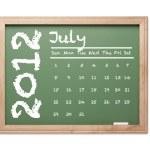 July 2012 Calendar on Green Chalkboard — Stock Photo #6851266