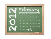 February 2012 Calendar on Green Chalkboard — Stock Photo