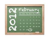 De kalender van februari 2012 op groene schoolbord — Stockfoto
