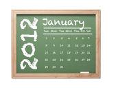 January 2012 Calendar on Green Chalkboard — Stock Photo
