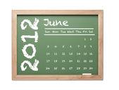 ιουνίου 2012 ημερολόγιο στο πράσινο πίνακα κιμωλίας — Φωτογραφία Αρχείου
