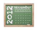 November 2012 Calendar on Green Chalkboard — Stock Photo