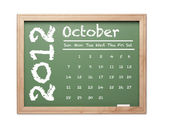 October 2012 Calendar on Green Chalkboard — Stock Photo