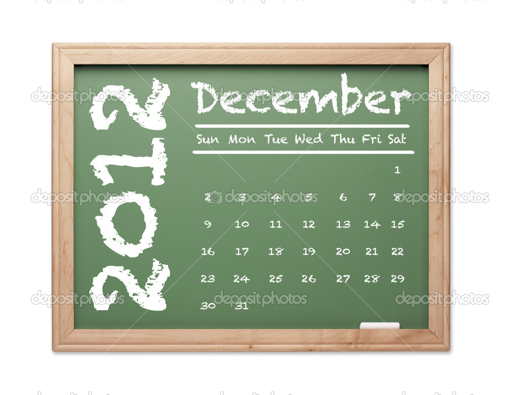Month of December 2012 Calendar on Green Chalkboard Over White Background. — Stock Photo #6851254