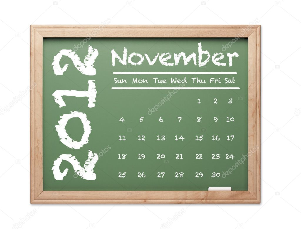 Month of November 2012 Calendar on Green Chalkboard Over White Background.  Stock Photo #6851287