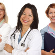 Group of Doctors or Nurses on a White Background - 