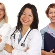 Group of Doctors or Nurses on a White Background - Stock Photo