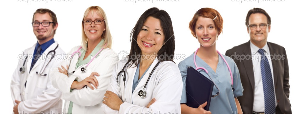Group of Doctors or Nurses Isolated on a White Background.  Stock Photo #6893609