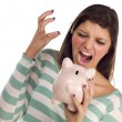 Ethnic Female Yelling At Piggy Bank on White — Stock Photo