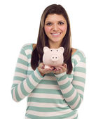 Ethnic Female Holding Piggy Bank on White — Stock Photo