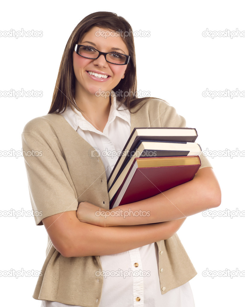 Pretty Smiling Ethnic Female Student Holding Books Portrait Isolated on a White Background.  Stock Photo #6946834