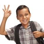 feliz jovem rapaz latino-americano para a escola em branco — Foto Stock