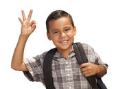 Happy Young Hispanic Boy Ready for School on White — Stock Photo