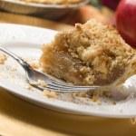 Half Eaten Apple Pie Slice with Crumb Topping — Stock Photo