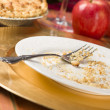 Apple Pie and Empty Plate with Remaining Crumbs — Stock Photo