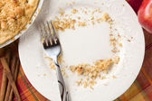 Overhead of Pie, Apple, Cinnamon, Copy Spaced Crumbs on Plate — Stock Photo