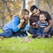 Happy Mixed Race Ethnic Family Playing with Bubbles In The Park — Stock Photo #7678304