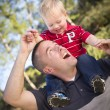 Young Laughing Father and Child Piggy Back — Stock Photo #7926138