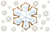Gingerbread snowflake cookie — Stock Photo
