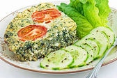 Spinach and feta cheese quiche — Stock Photo