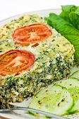 Spinach and feta cheese quiche — Stock Photo