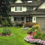 quintal e casa bem cuidada — Foto Stock