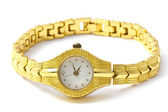 Woman golden wrist watch — Stock Photo