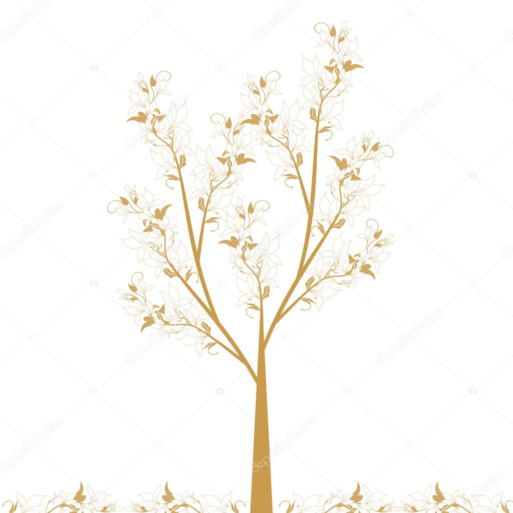 Beautiful art tree isolated on white background — Stock Vector #7670941
