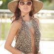 Stock Photo: Fashionable womin animal print