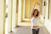 Woman stretching — Stock Photo
